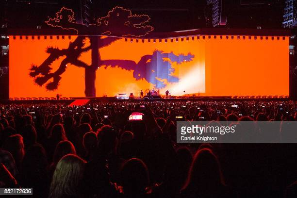 U2 perform on stage on the final night of U2 The Joshua Tree Tour 2017 at SDCCU Stadium on September 22 2017 in San Diego California