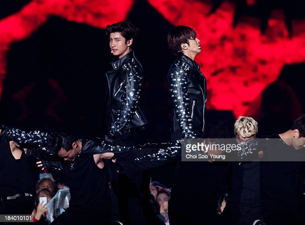 TVXQ perform onstage during the 2013 Hallyu Dream concert at Gyeongju Civic Stadium on October 6 2013 in Gyeongju South Korea