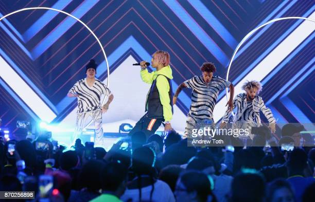 AYO TEO perform onstage during the 2017 Nickelodeon HALO Awards at Pier 36 on November 4 2017 in New York City