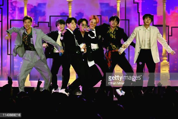 BTS perform onstage during the 2019 Billboard Music Awards at MGM Grand Garden Arena on May 1 2019 in Las Vegas Nevada