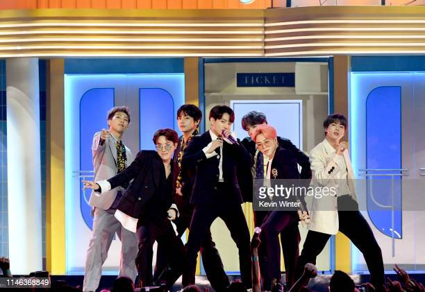 BTS perform onstage during the 2019 Billboard Music Awards at MGM Grand Garden Arena on May 01 2019 in Las Vegas Nevada
