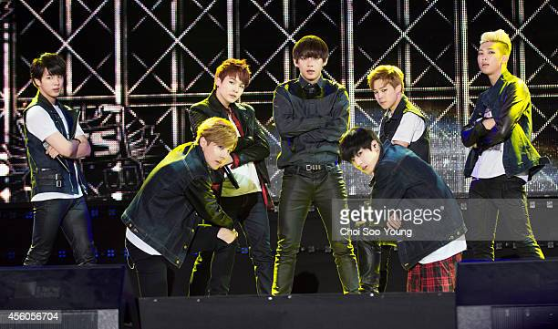 BTS perform onstage during the KPop EXPO in Asia at North Incheon Bokhapdanji on September 21 2014 in Incheon South Korea