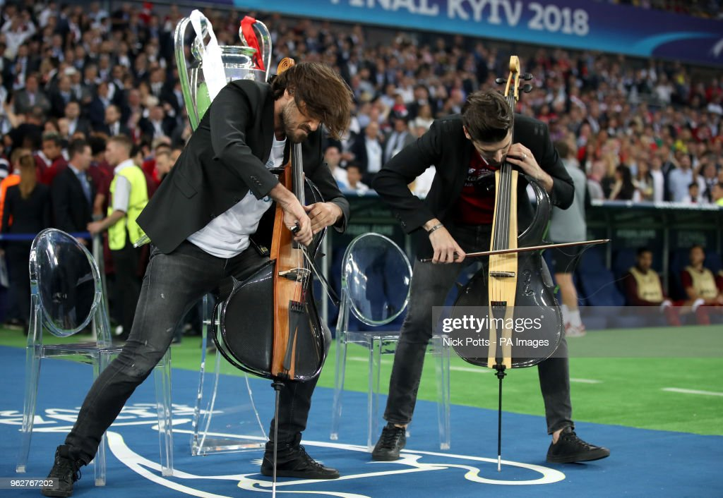 2CELLOS perform the Champions League anthem prior to the start of the UEFA Champions League Final at the NSK Olimpiyskiy Stadium, Kiev.
