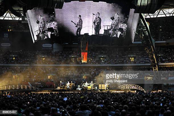 U2 perform their 360 World Tour on stage at Wembley Stadium on August 14 2009 in London England