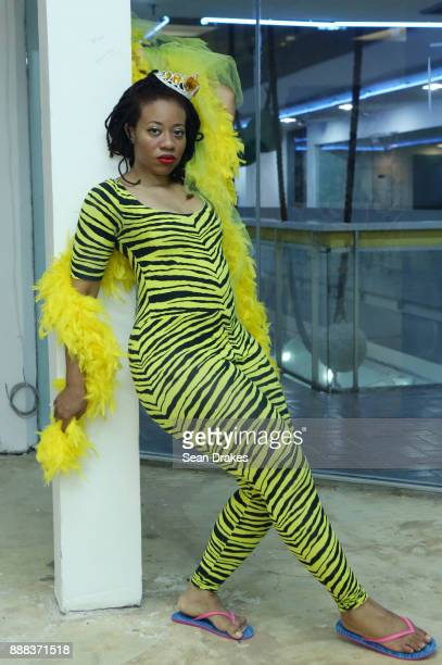 Performance artist Ayana Evans poses at Prizm Art Fair on East Flagler Street during Art Basel Miami Beach on December 07 2017 in Miami United States