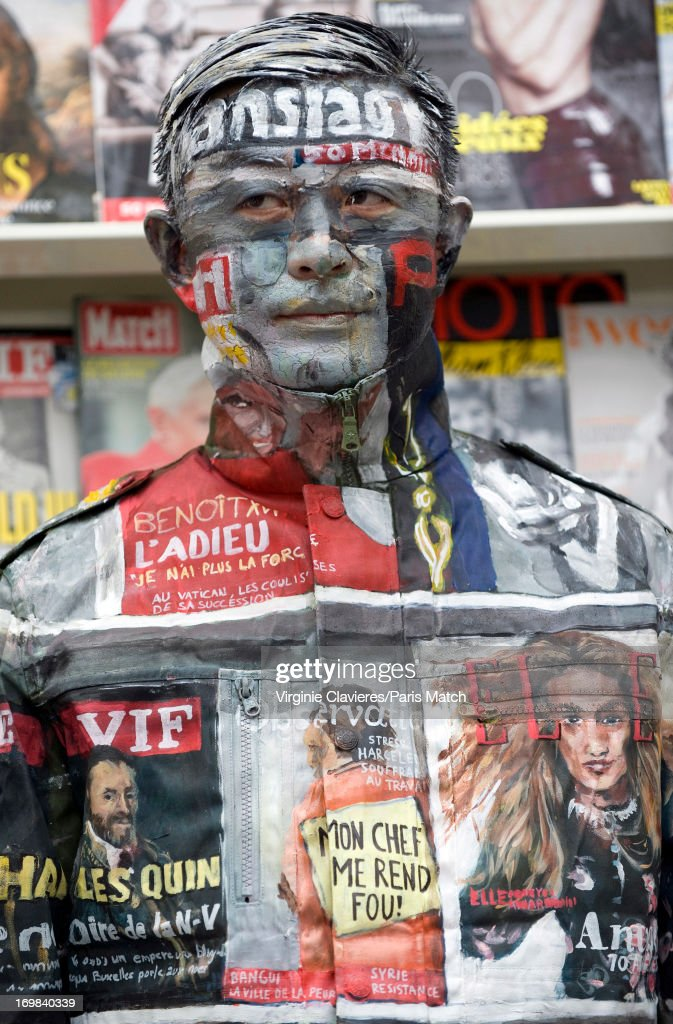 Performance artist Liu Bolin is photographed for Paris Match on May 24, 2013 in Brussels, Belgium.