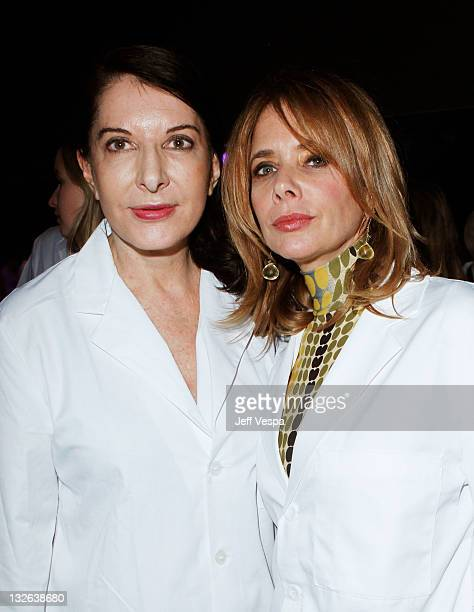 Performance artist Marina Abramovic and actress Rosanna Arquette attend 2011 MOCA Gala An Artist's Life Manifesto Directed by Marina Abramovic at...