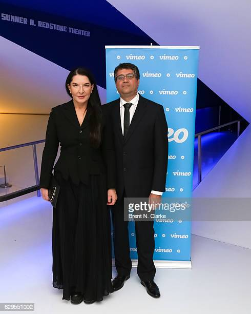 Performance artist Marina Abramovic and director Marco Aurelio del Fiol attend a screening of her newest film 'Marina Abramovic In Brazil The Space...