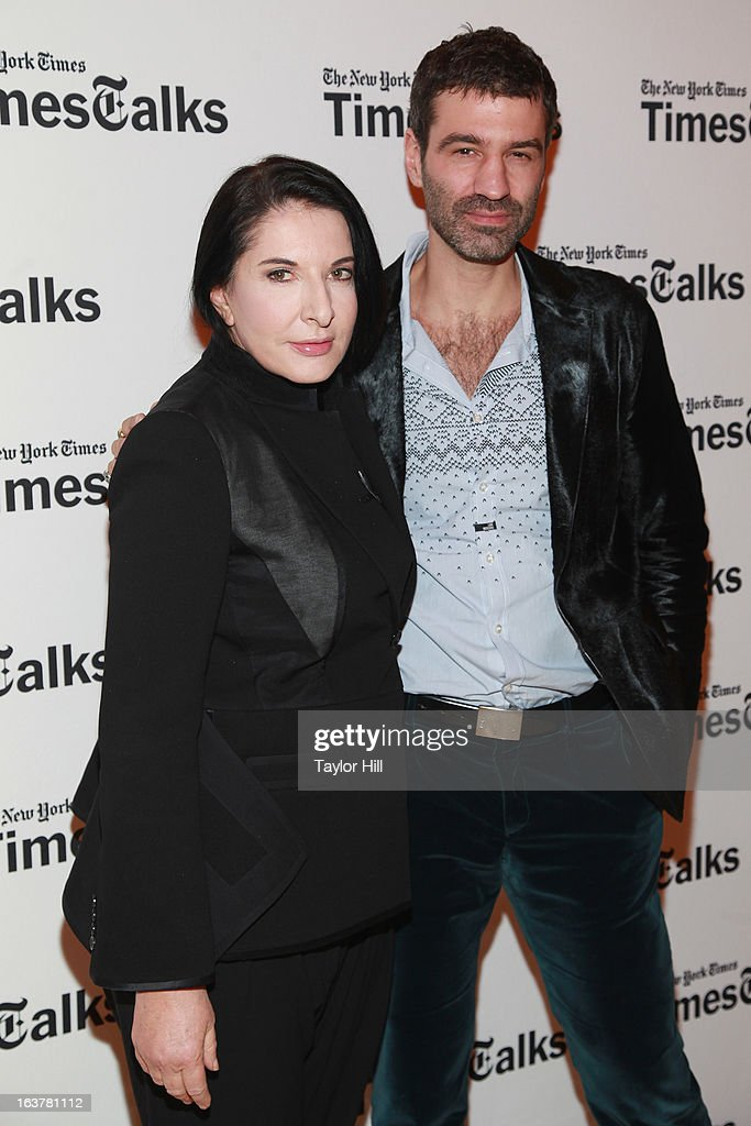 Performance artist Marina Abramovic and Luminato Festival Artistic Director Jorn Weisbrodt attend the TimesTalk at TheTimesCenter on March 15, 2013 in New York City.