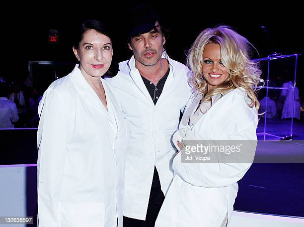 Performance artist Marina Abramovic photographer David LaChapelle and actress Pamela Anderson attend 2011 MOCA Gala An Artist's Life Manifesto...