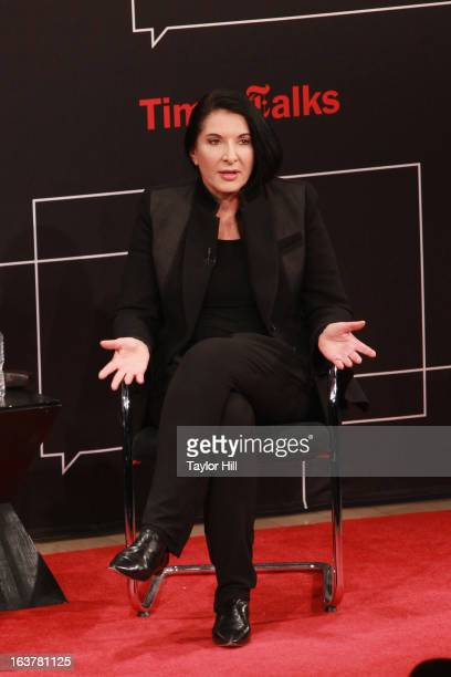 Performance artist Marina Abramovic speaks during her TimesTalk at TheTimesCenter on March 15 2013 in New York City