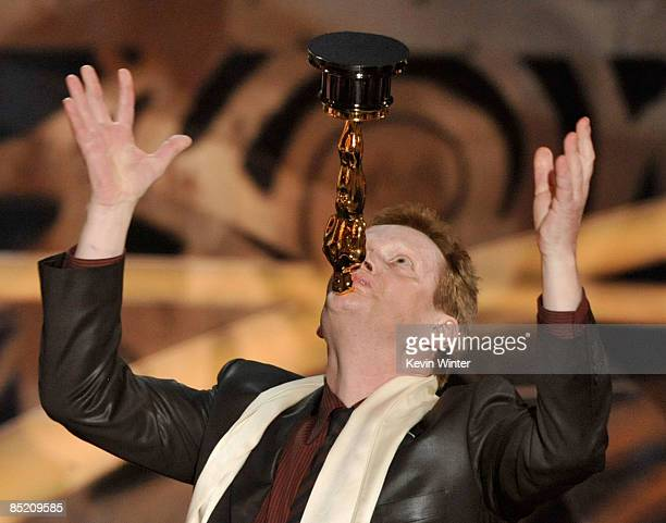 Performance artist Philippe Petit poses with the Best Documentary award for Man on Wire during the 81st Annual Academy Awards held at Kodak Theatre...