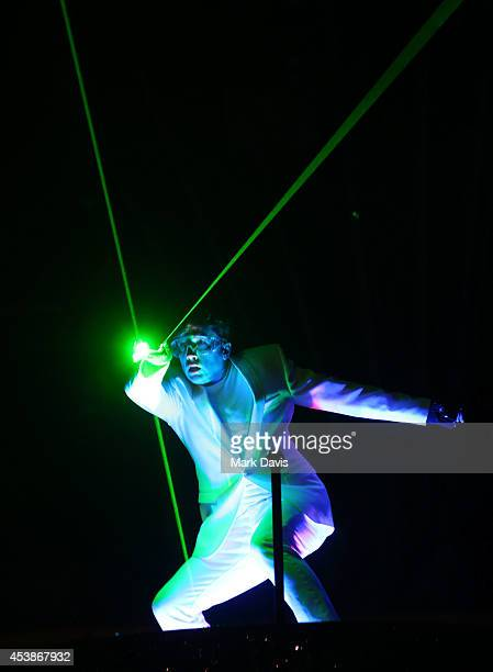 A performance artist previews a lazer show for the press at 66th Primetime Emmy Awards Governors Ball press preview held at the Los Angeles...