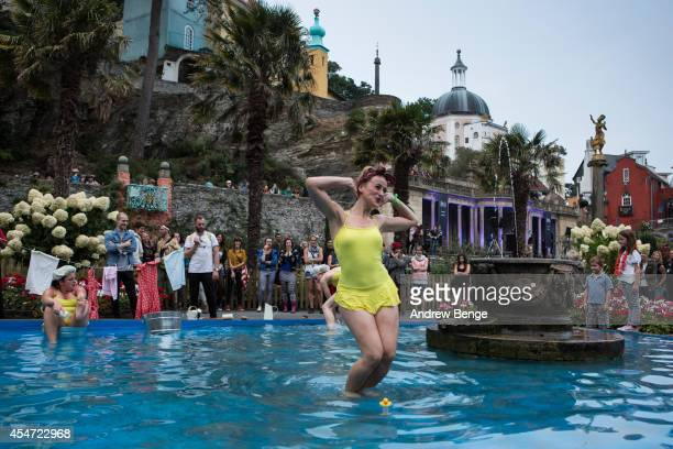 Performance artists for Festival No6 at the central piazza on September 5 2014 in Portmeirion United Kingdom