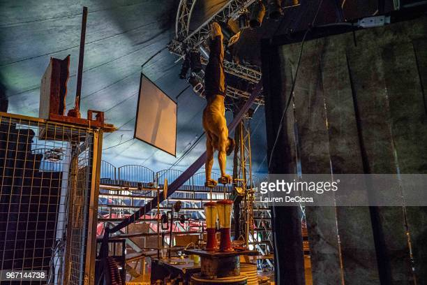 Performance artists rehearses on stage before a nightly performance at Phare The Cambodian Circus on May 30 2018 in Siem Reap Cambodia Phare The...