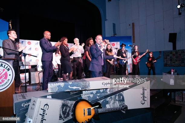 A performance at Chicago Public School Announces Music Program Expansion With Little Kids Rock at Franklin Fine Arts Center Auditorium on February 28...