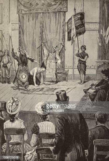 Performance at the Annamese theater during the Universal Exposition of 1889 Paris France engraving from a drawing by A Cairoli from L'Illustrazione...