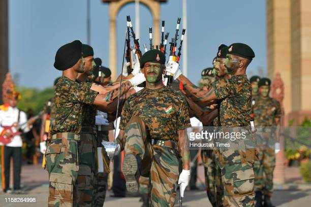 A performance by bands of the Indian Army Navy and other regiments dedicated to the soldiers who were killed during the Kargil War at India Gate war...