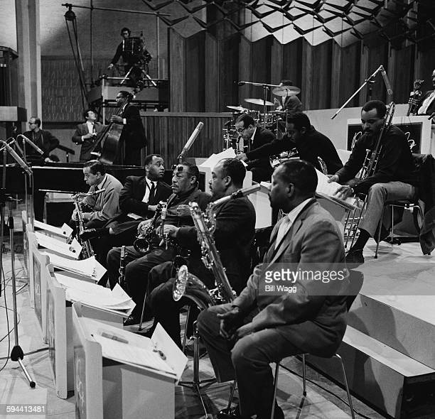 A performance by Duke Ellington's Orchestra circa 1962 Band members include Buster Cooper Jimmy Hamilton Harry Carney Johnny Hodges and Paul Gonsalves