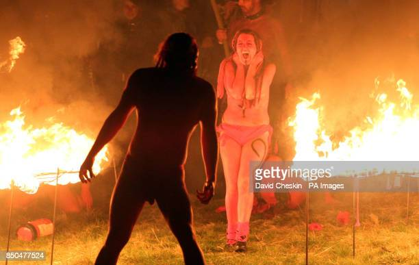Performance groups on Calton Hill Edinburgh during the Beltane Fire Festival
