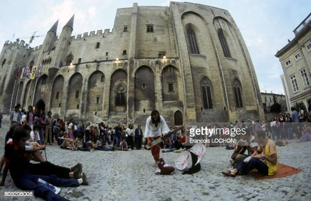 Performance in front of the Palais des Papes during the Avignon Theatre Festival in July 1977 in Avignon France