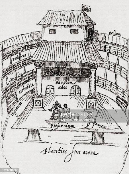 A performance in progress on the thrust stage of the Swan TheatreSouthwark London England in 1595 After a contemporary drawing by John de Witt From...