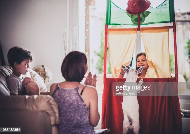 performance in the puppet theater - puppet show stock photos and pictures