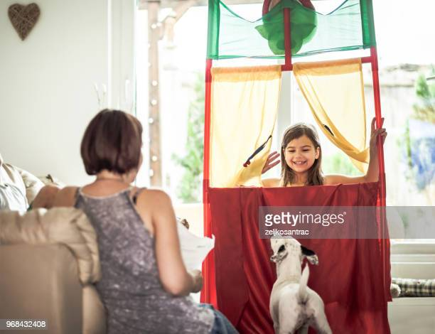performance in the puppet theater - acting performance stock pictures, royalty-free photos & images