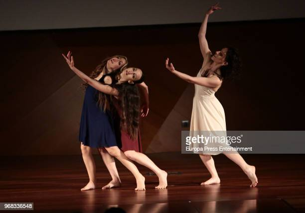 Performance of a ballet company during 'Fundacion ONCE' Contemporary Art Biennale exhibition at Cibeles Palace on June 5 2018 in Madrid Spain