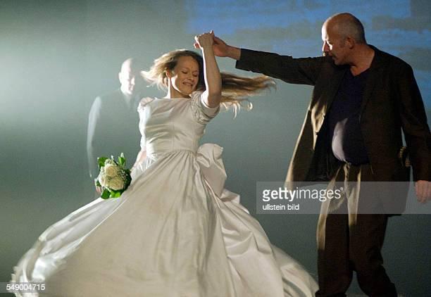 Performance of a theater adaptation of Theodor Fontane's novel 'Effi Briest' in the Maxim Gorki Theater Berlin actors Robert Kuchenbuch Anja...
