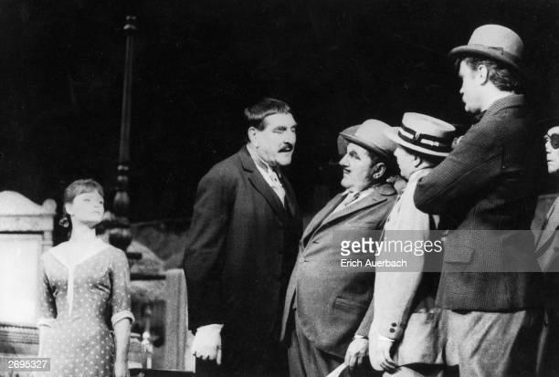 A performance of Berthold Brecht's and Kurt Weill's 'Die Dreigroschenoper' or 'The Threepenny Opera' which opened at the Theater am Schiffbauerdamm...
