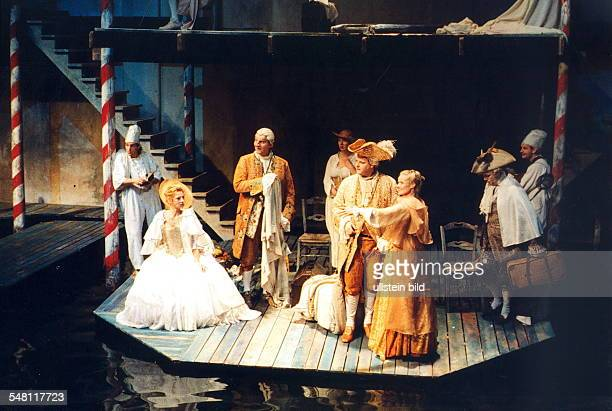 Performance of Carlo Goldoni's comedy 'The Vacation' in the Schaubühne Berlin scene wtih the ensemble director Erik Vos