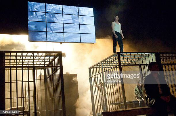 Performance of Christopher Marlowe's play 'Edward II' in the Schaubuehne Berlin actors Christoph Gawenda Stefan Stern Moritz Gottwald Sebastian...