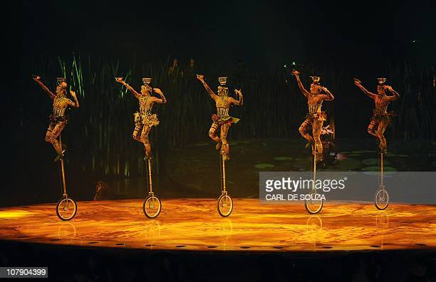 A performance of Cirque Du Soleil's new production Totem is pictured at the Royal Albert Hall in London on January 4 2010 AFP PHOTO/Carl de Souza