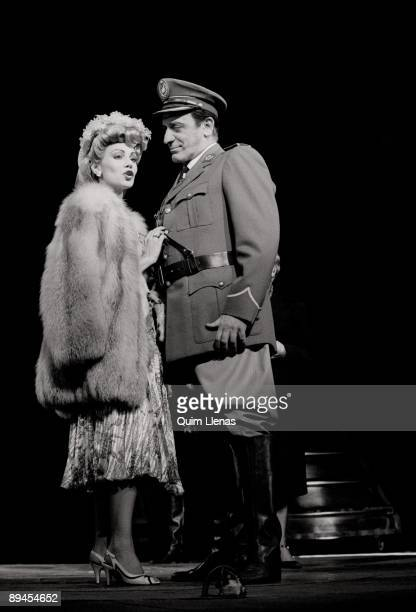 Performance of 'Evita' Evita and Juan Domingo Peron talk on stage in a scene of the successful musical