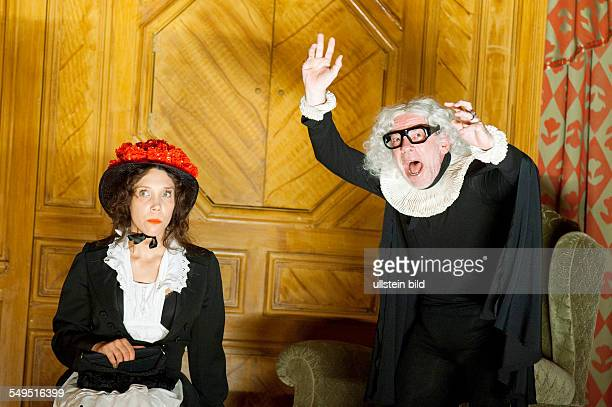 Performance of Moliere's comedy 'The Miser' in the Volksbühne Berlin scene with Irina Kastrinidis and Martin Wuttke director Frank Castorf stage and...