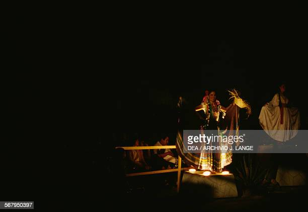 Performance of the Bani Stui Gulal which tells the story of the Guelaguetza festival Oaxaca Mexico
