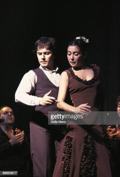 Performance of the flamenco dancers Sara Baras and Javier Baron Together in a flamenco show