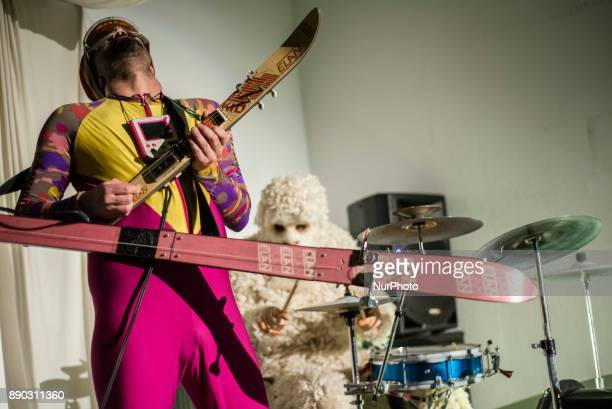 Performance of the musical band dressed like Skier and Yeti in Savamala district Belgrade Serbia on December 10 2017 Belgrade's Savamala district is...