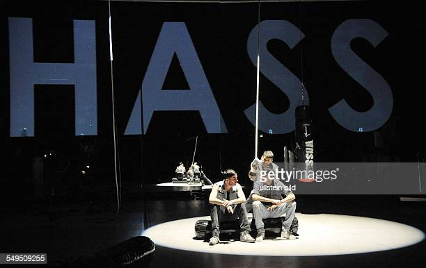 Performance of the play 'Hass' by Tamer Yigit and Branka Prlic at the 'HAU 2' in Berlin scene with Christoph Bach Haydar Yilmaz and Tamer Yigit...