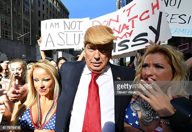 A performance piece by multiaward winning artist Alison Jackson a Donald Trump 'lookalike' shows outside of Trump Tower accompanied by beauty queens...