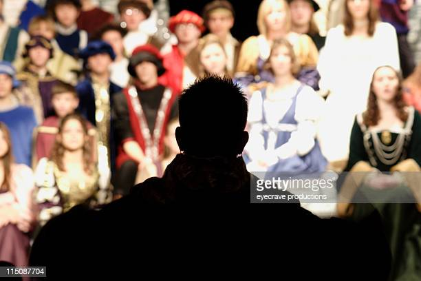 performance scenes - director silhouette - acting performance stock pictures, royalty-free photos & images