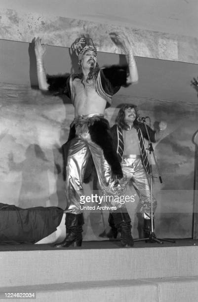 """Performance when German band """"Dschinghis Khan"""" receives the Golden Record at Holiday Inn hotel Munich, Germany, 1970s."""