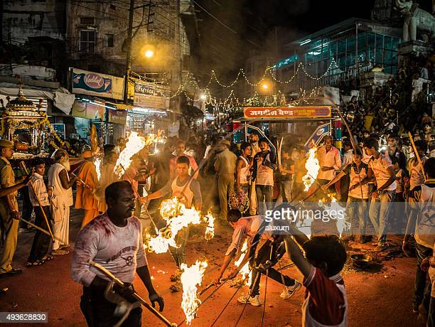 Performance with fire in Udaipur Rajasthan India
