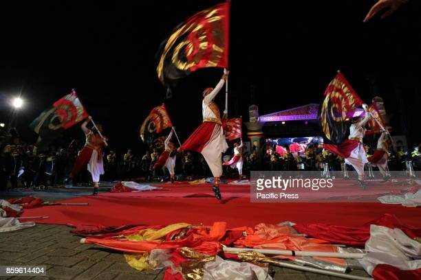 Performances from one of the marching bands in Aceh province when performing at the opening of a national Islamic religious event in Banda Aceh Aceh...
