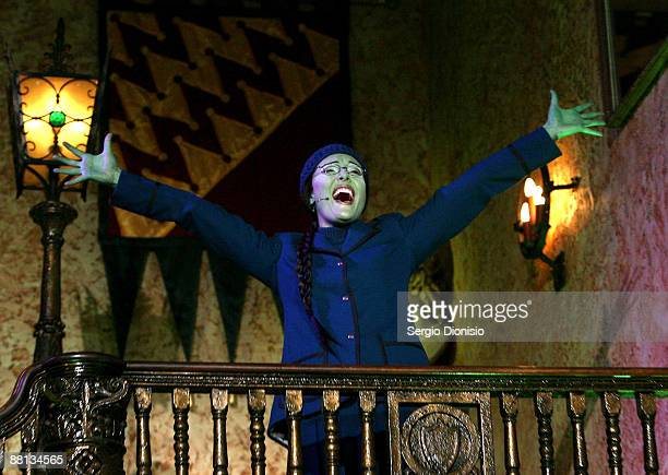Performer Amanda Harrison playing the role of Elphaba sings during a media call for 'Wicked' the musical at the Capitol Theatre on June 2 2009 in...