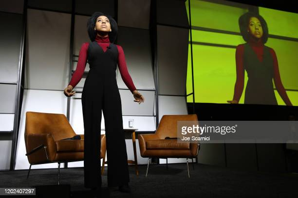 Performer and subject of Giving Voice, Callie Holley speaks onstage during the 2020 Women at Sundance Celebration hosted by Sundance Institute and...