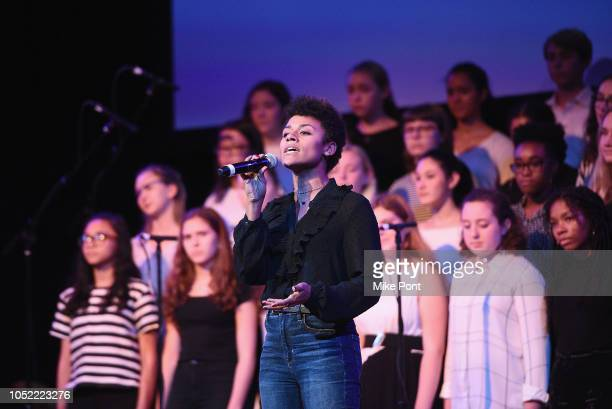 Performer Ariana DeBose and the Brooklyn Youth Chorus appear onstage NYCLU's Broadway Stands Up For Freedom concert 'We The People' on October 15...