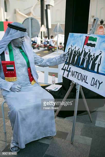 Performer at Jumeriah Beach Walk during the annual UAE National Day Celebrations on December 02 2015 in Dubai United Arab Emirates
