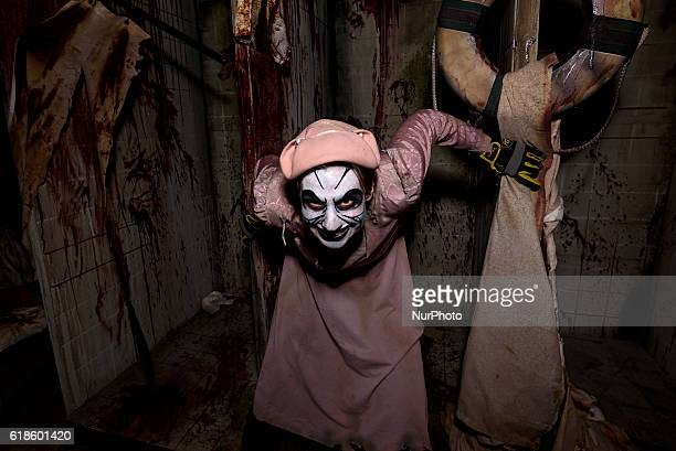 Performer at the Queen Marys annual Halloween haunt Dark Harbor Long Beach California October 26 2016 The immersive event includes six haunted mazes...
